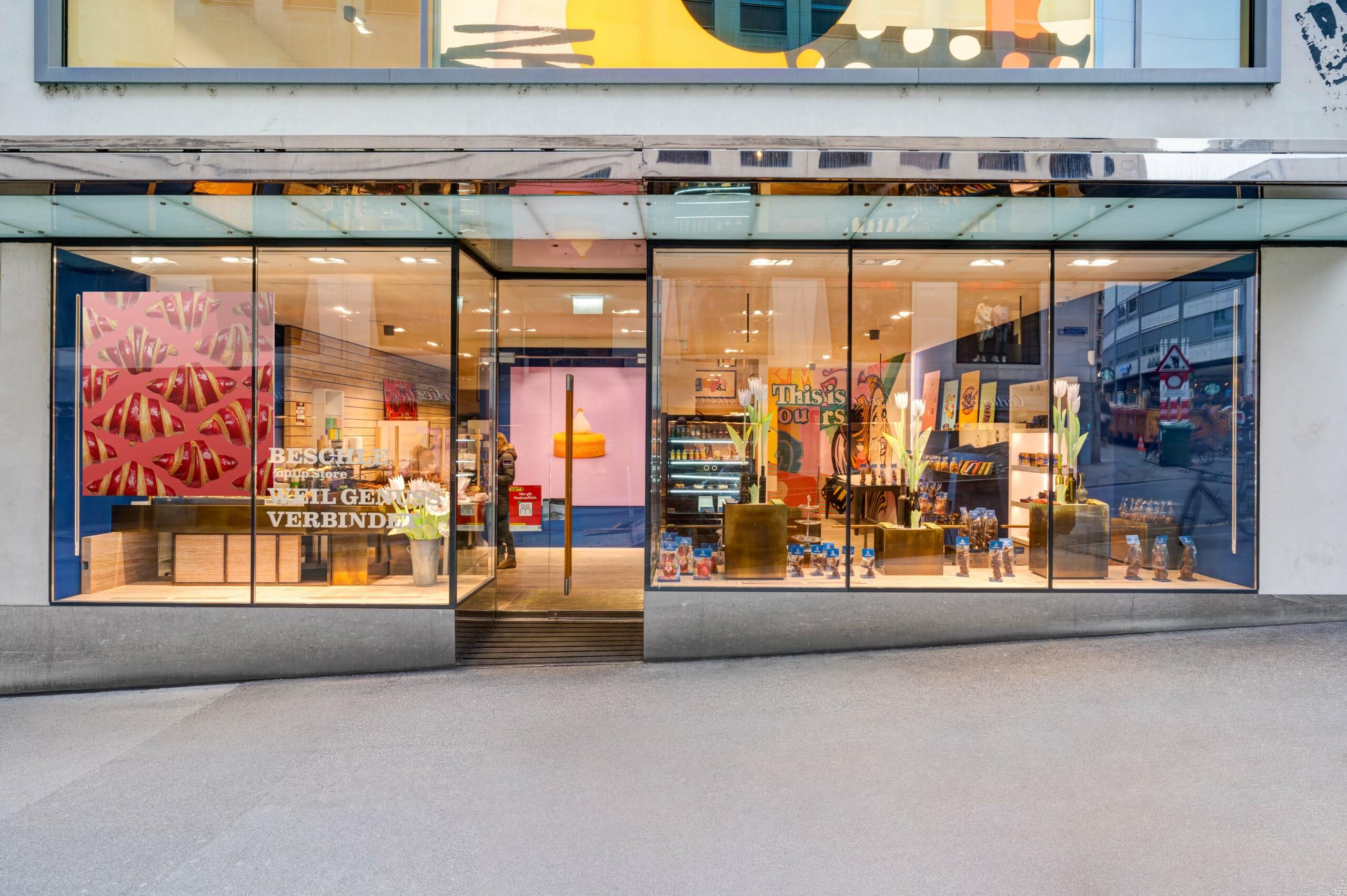 Aussenansicht des Pop Up Stores von Beschle in Basel