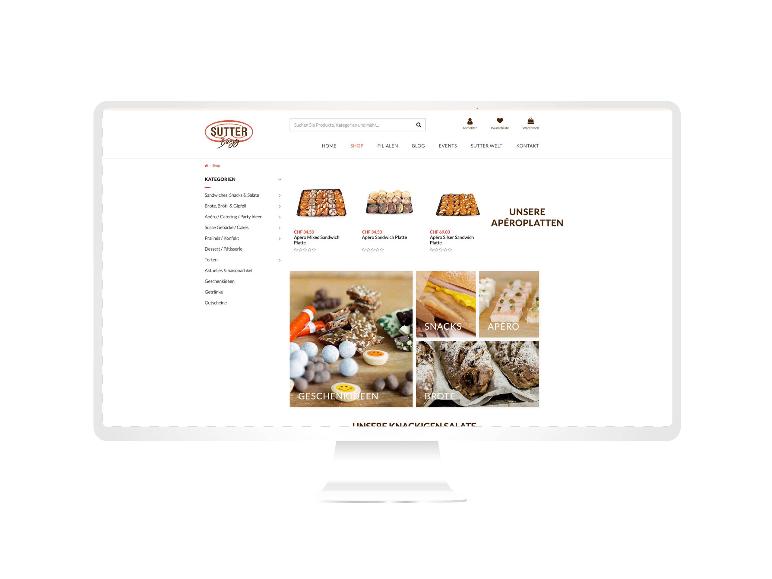 Webseitenansicht von Sutterbegg.ch